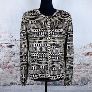 St John Evening L Gold Black Santana Knit Sweater